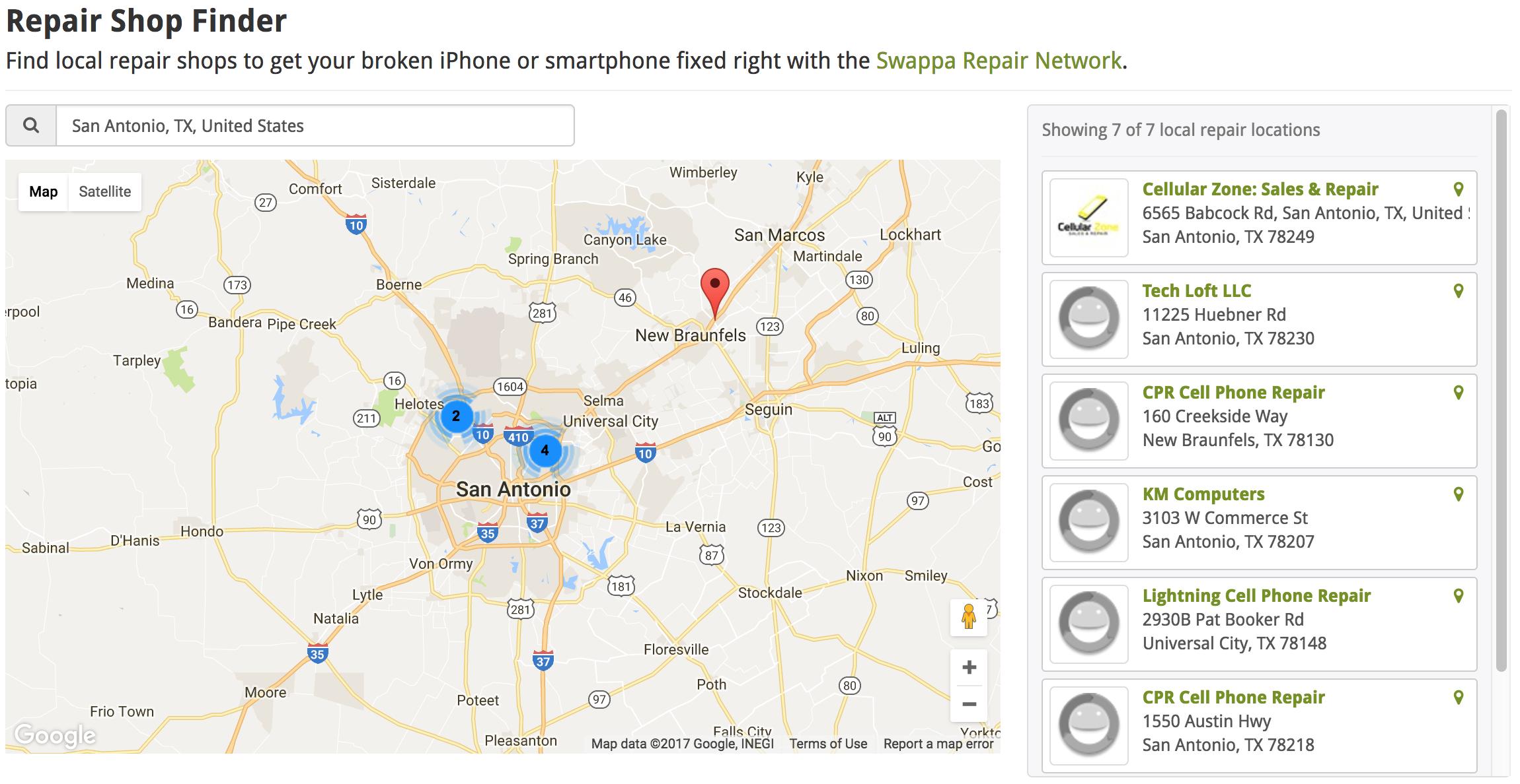 Example Swappa Repair Network