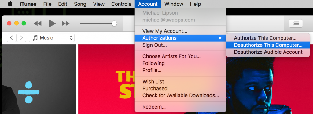 Deauthorize MacBook in iTunes