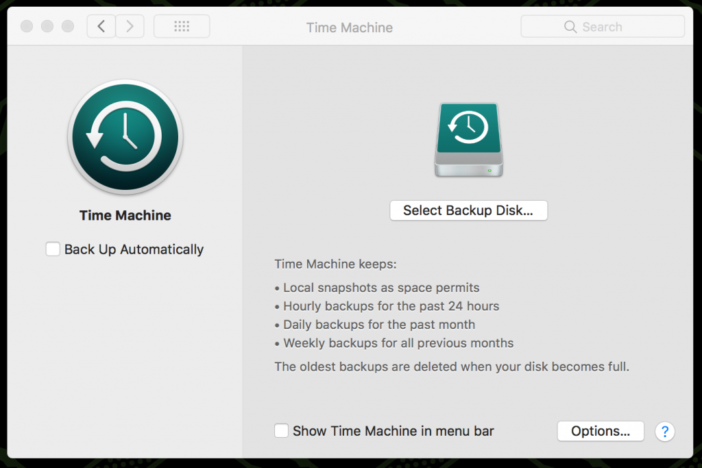 MacBook backup with Time Machine