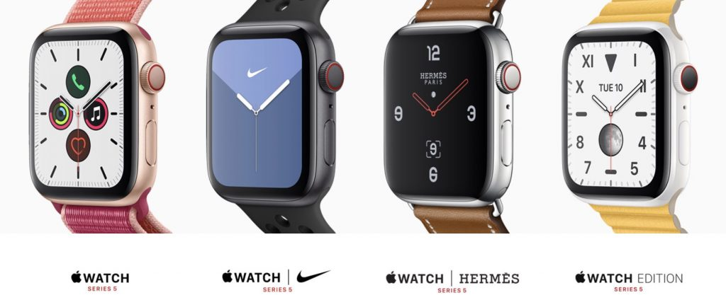 Apple Watch Series 5 and the four available style options.