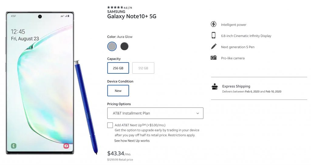 Current Samsung Galaxy Note 10+ 5G prices at AT&T.