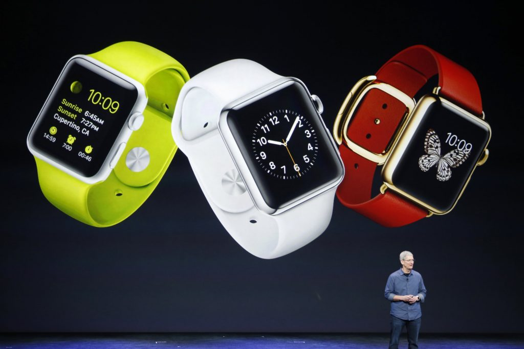 Tim Cook on stage announcing the first generation Apple Watch.