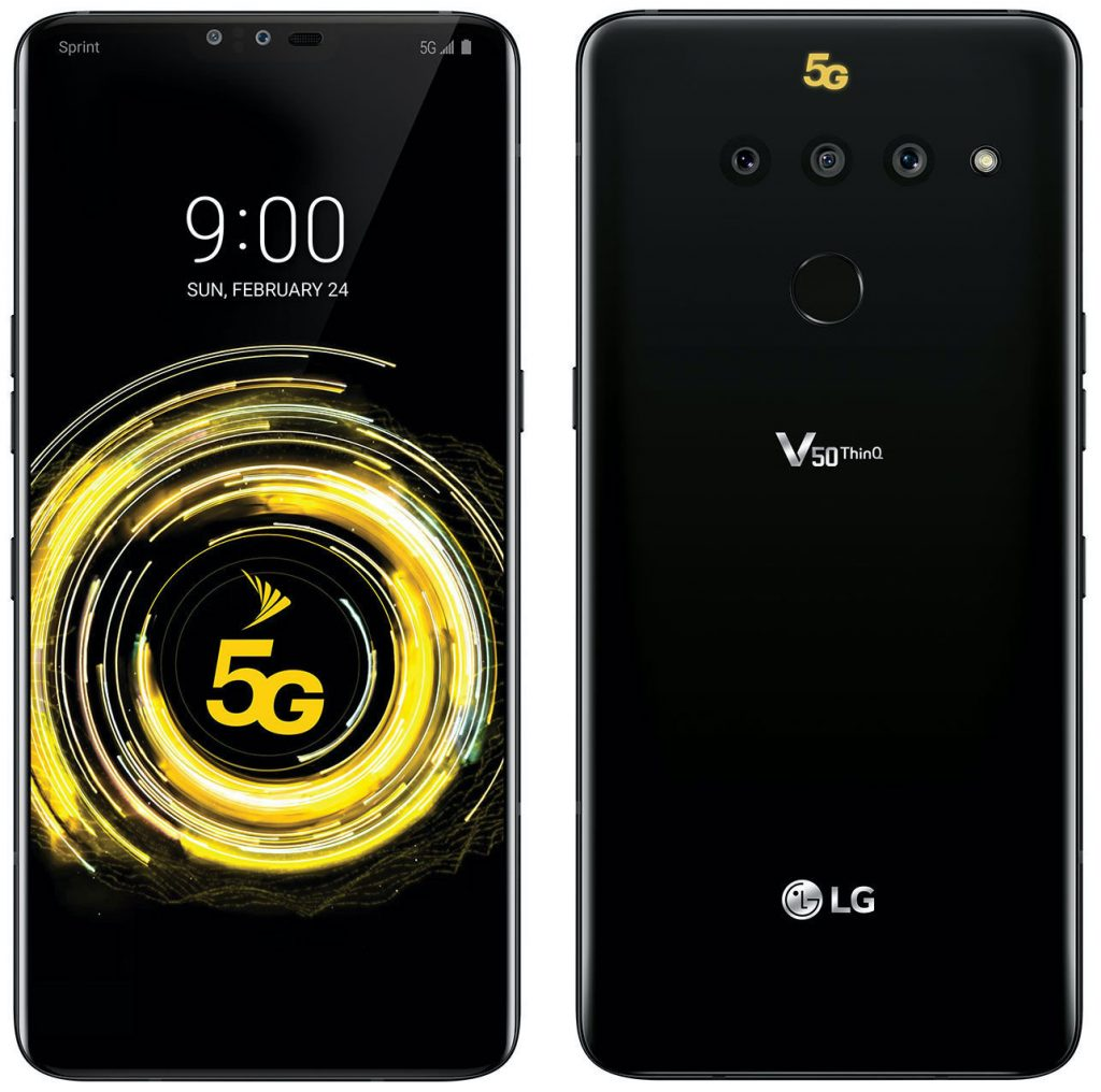 Front and back of the LG V50 ThinQ 5G for Sprint.