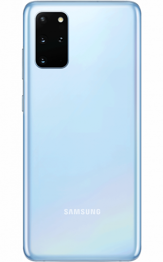 Back of the Samsung Galaxy S20+ in blue