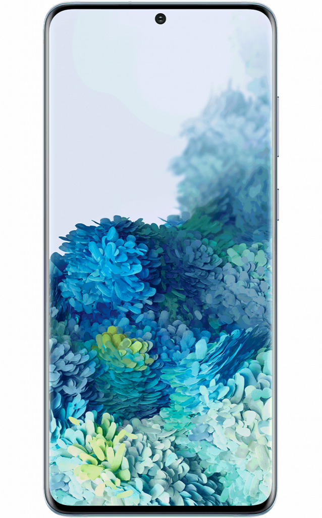 Front of the Samsung Galaxy S20+ in blue