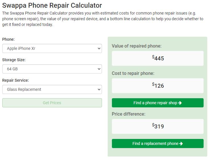 Swappa Repair Calculator - Apple iPhone XR 64GB Screen Glass Replacement