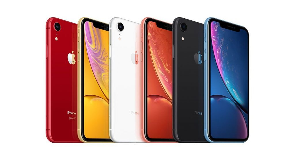 iPhone XR colors shown in red, yellow, white, coral, black and blue.