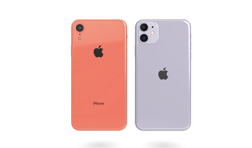 Back of a coral iPhone XR side by side with a purple iPhone 11.