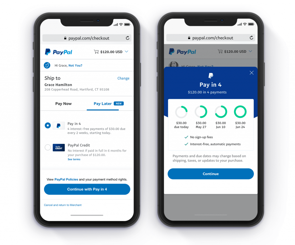 PayPal Pay in 4 screenshots