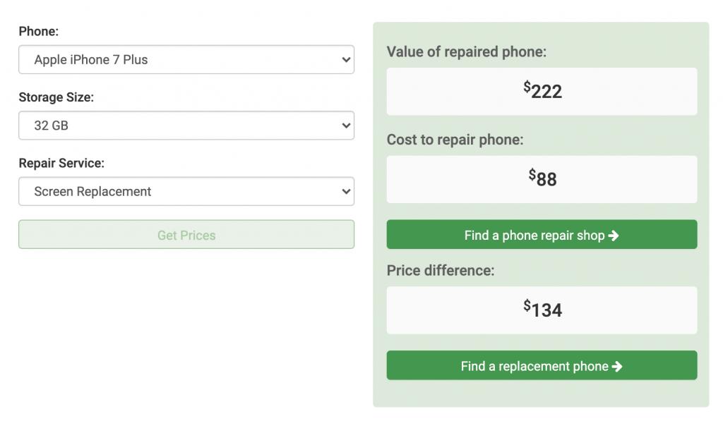 iPhone 7 Plus Screen Repair Calculator